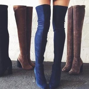 Jeffery Campbell Perouze Thigh High Boot / NAVY